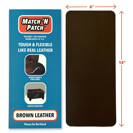 Match 'N Patch Realistic Brown Leather Repair Patch (Vinyl Repair Patches)