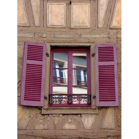 Peel-n-Stick Poster of Facade Window Shutters Red Wooden Shutters Open Poster 24x16 Adhesive Sticker Poster Print
