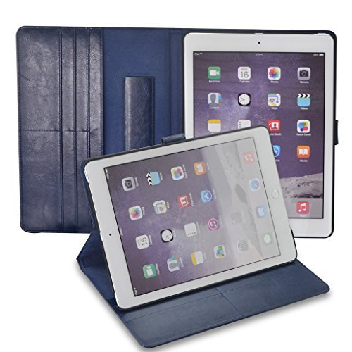 Selectect iPad pro 9.7 inch Apple iPad Cases Smart Covers PU Leather Folio Magnetic with Stand,Card Slot and Flip Cover Design,Shock Proof, Durable, Thin-Blue