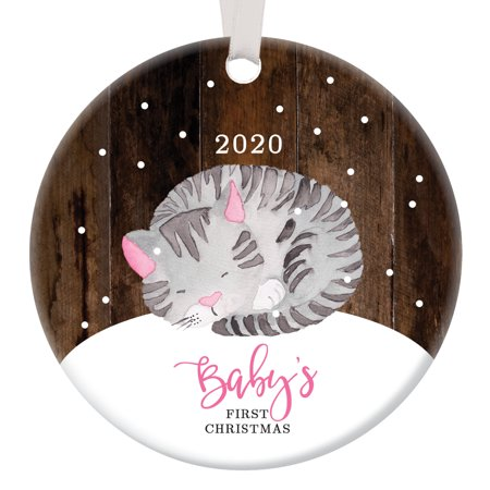 Kitty Cat Baby's First Christmas Ornament 2019, Baby Kitten Girl Porcelain Ceramic Ornament, 3