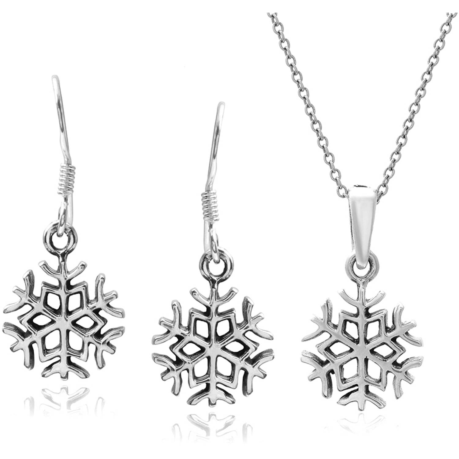 Brinley Co. Women's Sterling Silver Snowflake Pendant and Earring Set