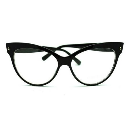 Oversized Cat Eye 50s Womens Glasses Vintage Style Clear Lens Black](Glasses With Eyes On Them)