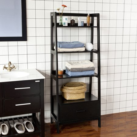 Haotian Frg116 Sch Black Storage Display Shelving Ladder Shelf Bookcase With Drawer And 4