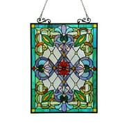 CHLOE Lighting IZZY Tiffany-glass Victorian Window Panel 18x25.5