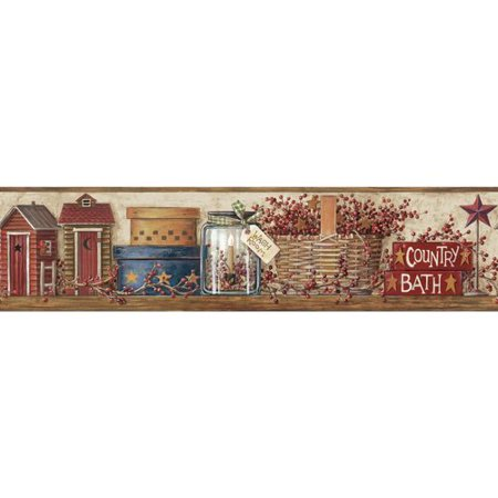 Portfolio Wallpaper - York Wallcoverings Mural Portfolio II Country Shelf 15' x 6'' Scenic Border Wallpaper