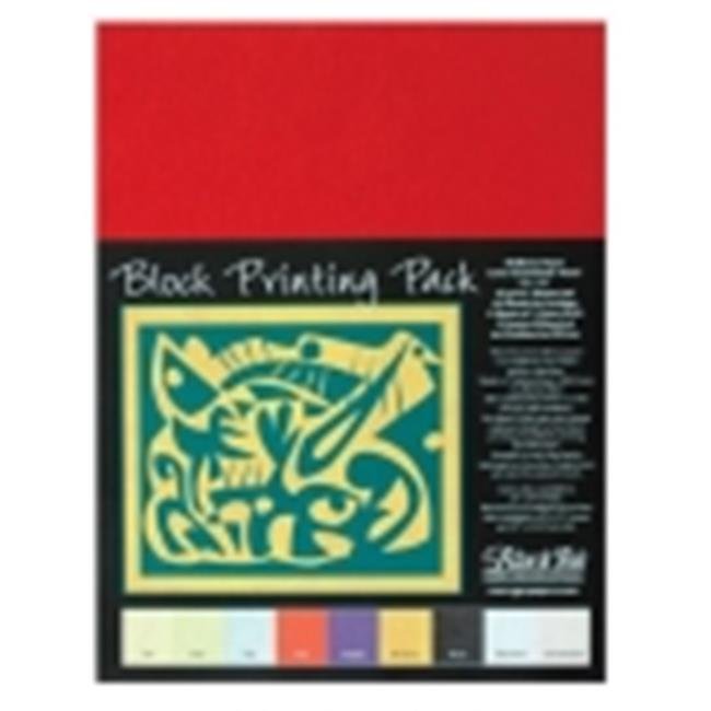 School Specialty Black Ink Block Printing Paper - 9 x 12 in. - Assorted Color, 45 Gsm, Pack 45