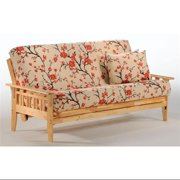 Solid Wood Futon Frame In Natural Finish w Slat Design On Sides (Standard Twin)