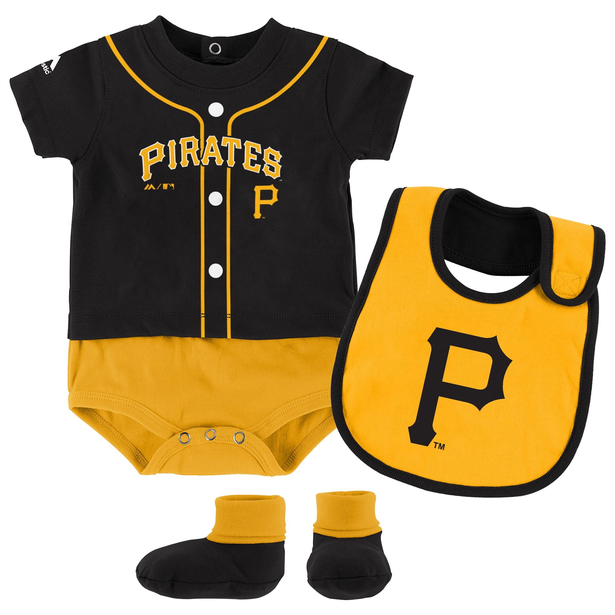 Newborn & Infant Majestic Black Pittsburgh Pirates Tiny Player Bib, Boodie & Bodysuit Set by Outerstuff