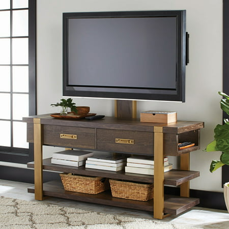 Better Homes & Gardens Lana Modern 3-in-1 TV Console, For TVs up to 70in, Toasted Brown Ash Finish ()