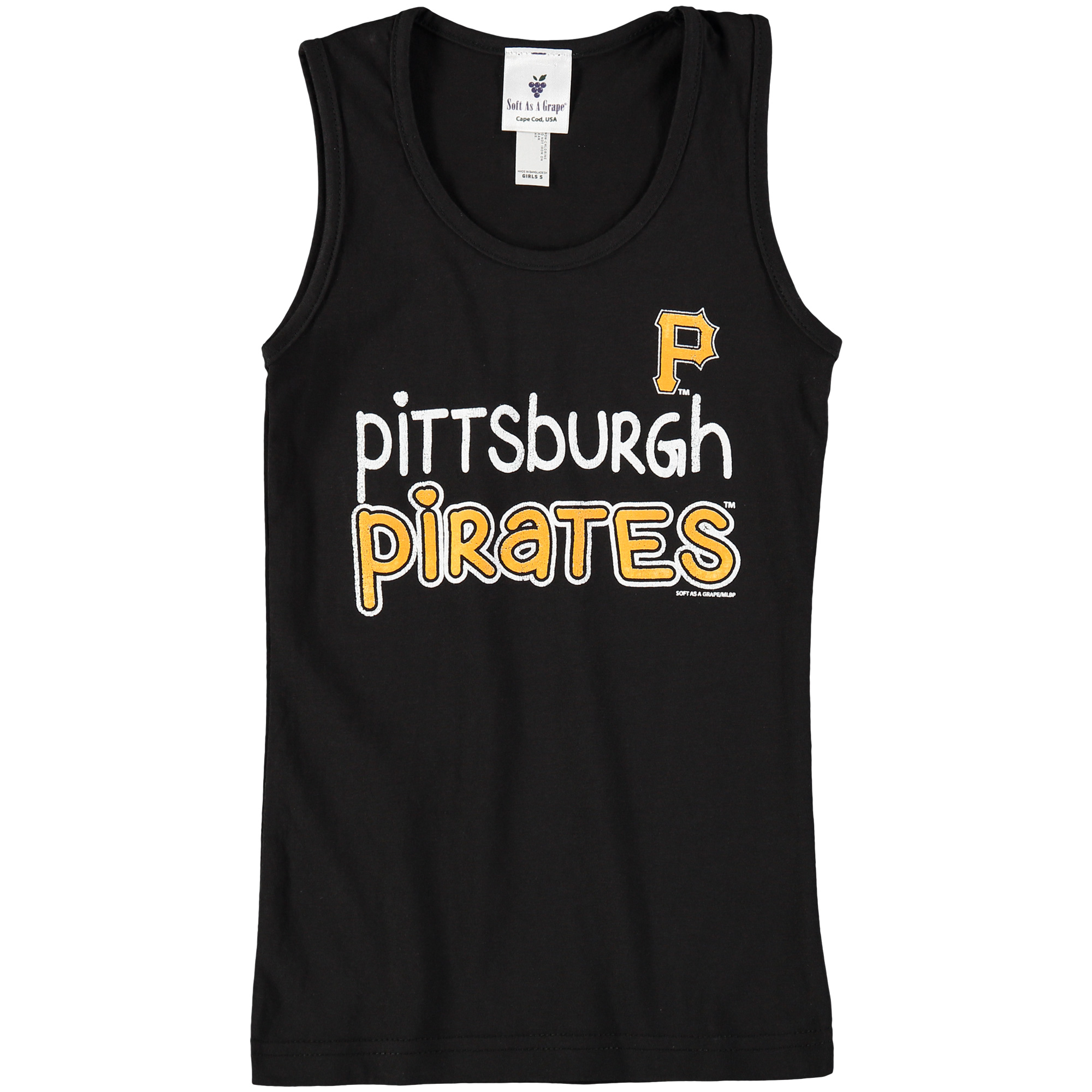 Pittsburgh Pirates Soft as a Grape Girls Youth Curveball Tank Top - Black
