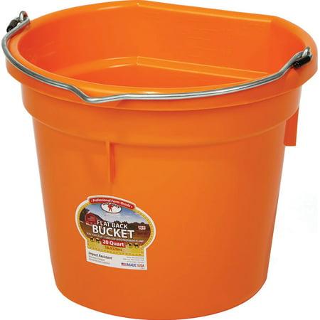 Miller Mfg Co Inc P-Little Giant Plastic Flat Back Bucket- Orange 20 - Fortex Flat Back Bucket