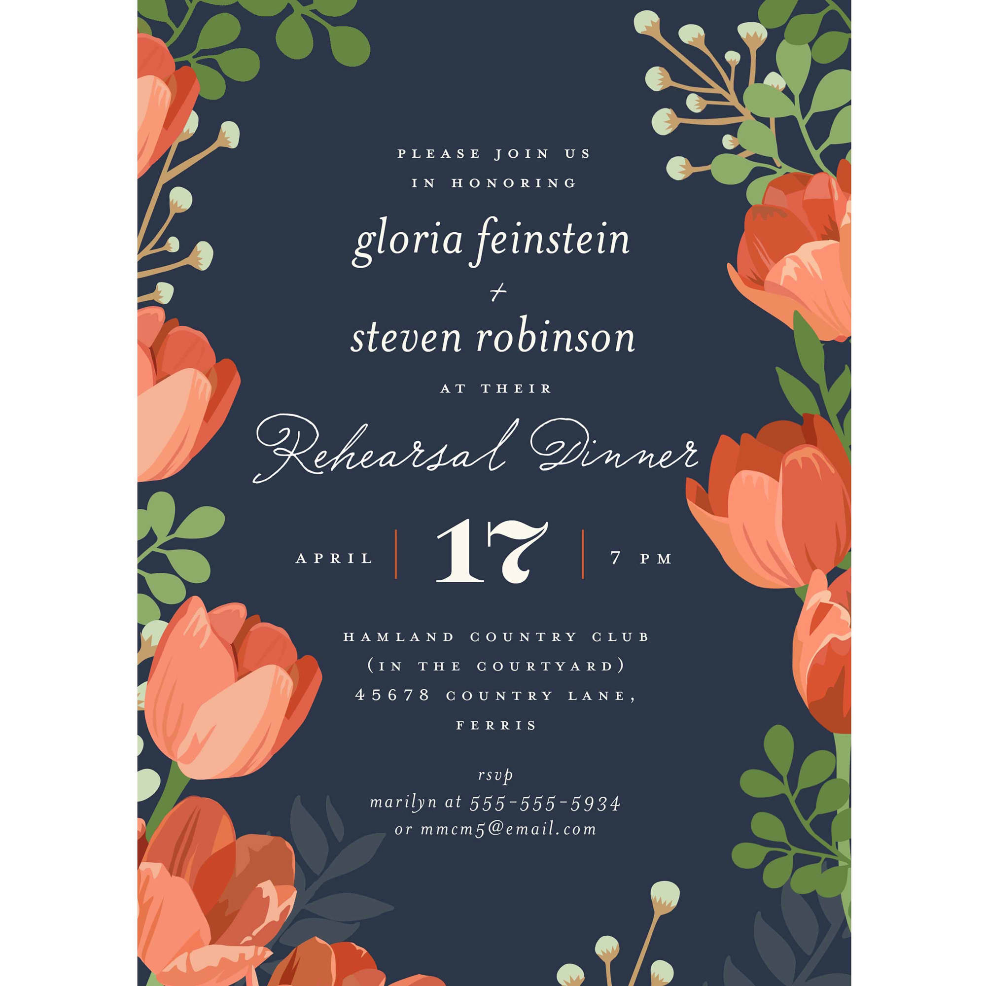 Rehearsal Dinner Bouquet Party Invite Standard Rehearsal Dinner -  Walmart.com - Walmart.com