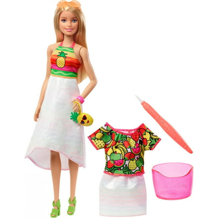 Barbie Fashion Makeover (Barbie Crayola Rainbow Fruit Surprise Doll & Fashions, Blonde)