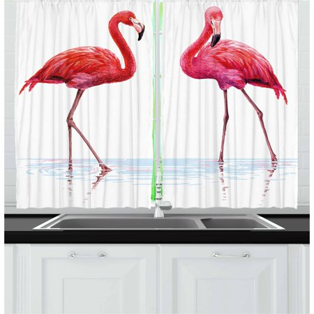 Animal Curtains 2 Panels Set, Two Hand Drawn Flamingos in Pink Colors on Seaside Tropical Wildlife Artwork, Window Drapes for Living Room Bedroom, 55W X 39L Inches, Orange Lavander, by (Wildlife Pin)