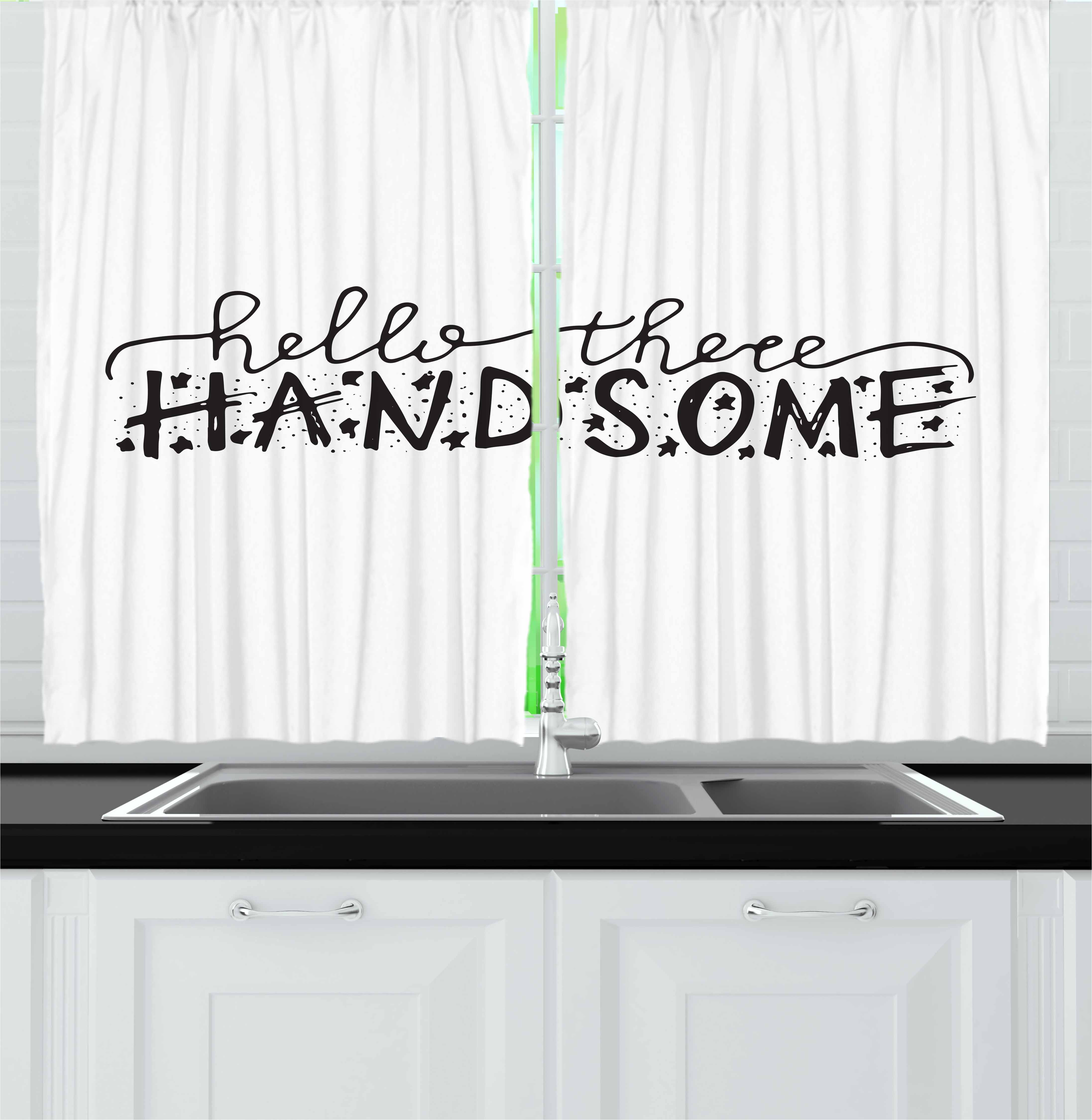 Hello Curtains 2 Panels Set, Hello There Handsome Typographic Text with Doodle Stars for Baby Boys Kids Birthday, Window Drapes for Living Room Bedroom, 55W X 39L Inches, Black White, by Ambesonne