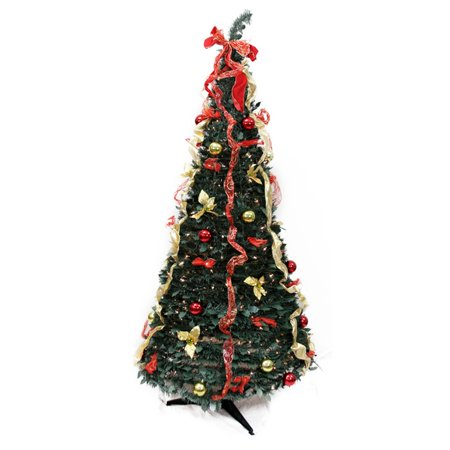 Northlight 6 ft. Pre Lit Decorated Pop Up Christmas Tree with Gold Poinsettia
