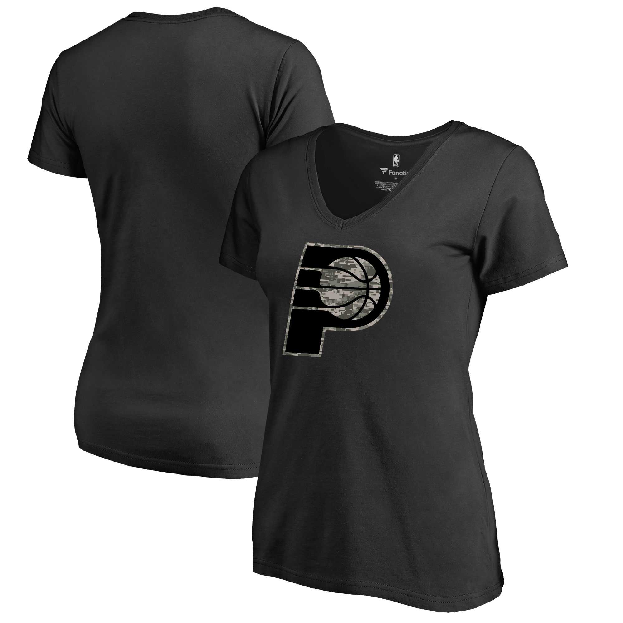 Indiana Pacers Fanatics Branded Women's Plus Size Cloak Camo V-Neck T-Shirt - Black
