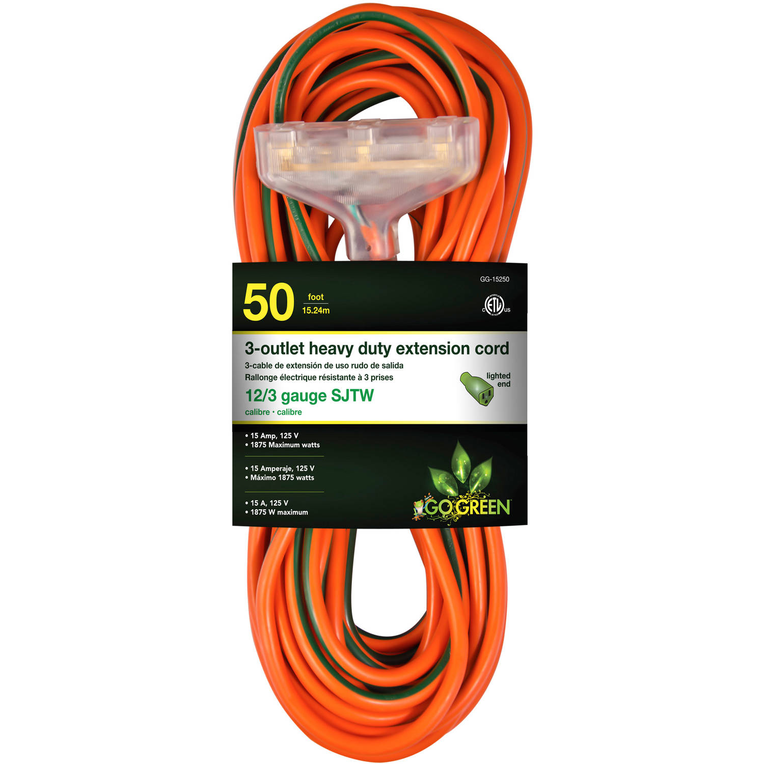 GoGreen Power 12/3 50' 15250 3-Outlet Heavy Duty Extension Cord, Lighted End