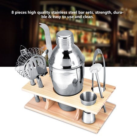 Mixer Tool (8pcs Stainless Steel Cocktail Shaker Set Mixer Drinker with Wood Holder Stand Drinking Tool Bar)