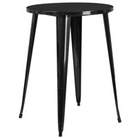 Bowery Hill Metal Patio Bistro Table in Black