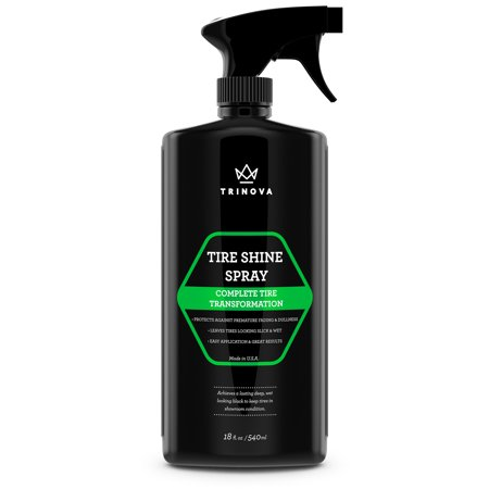 TriNova Tire Shine Spray - Automotive Clear Coat Dressing Keeps Tires Black with Rubber Protector - Prevents Fading & Yellowing 18 fl oz