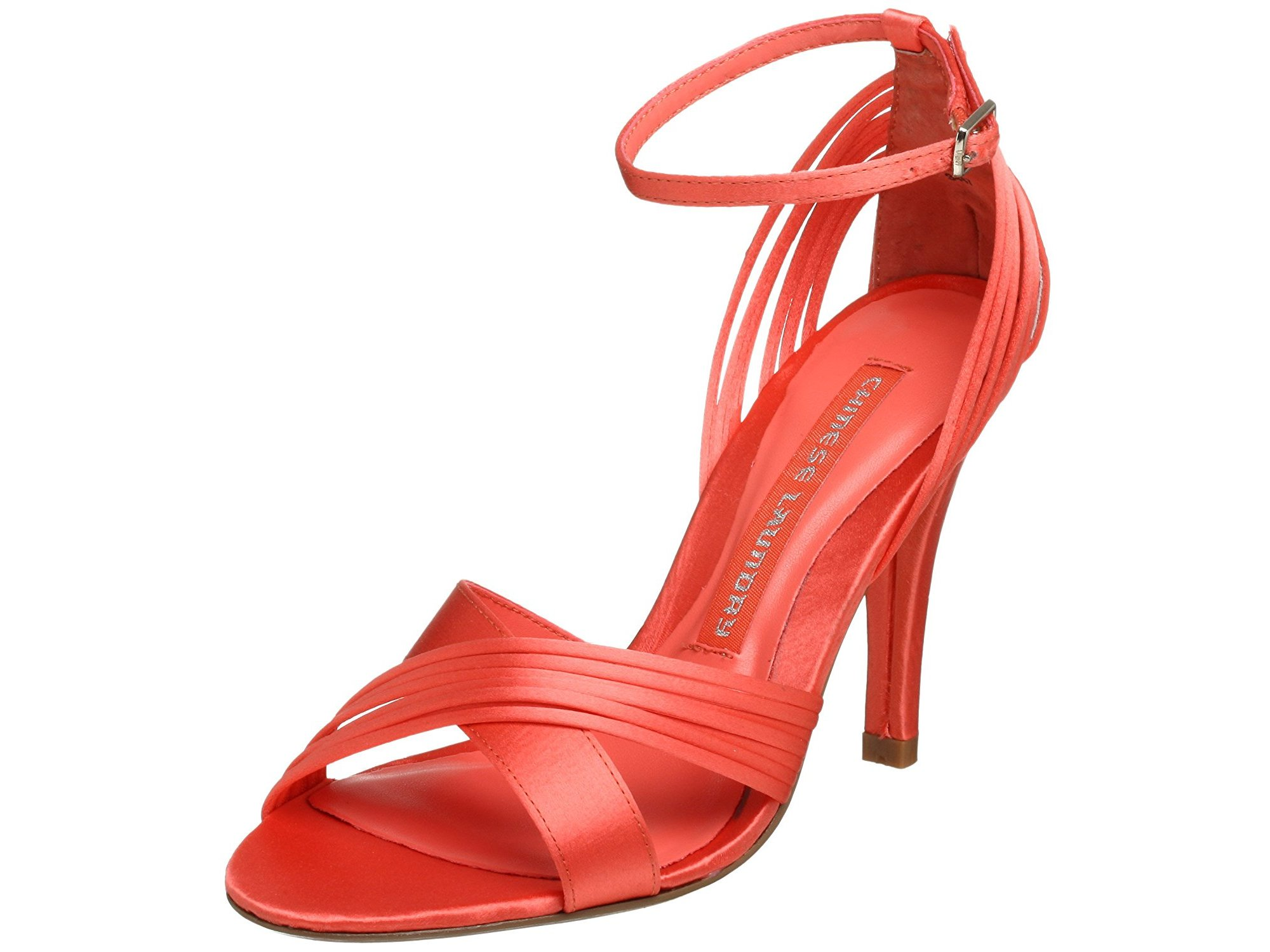 Chinese Laundry Womens Friday Fabric Open Toe Ankle Strap, Coral, Size 5.5