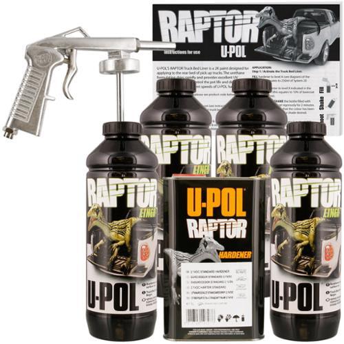 u-pol raptor black urethane spray-on truck bed liner spray gun, 4
