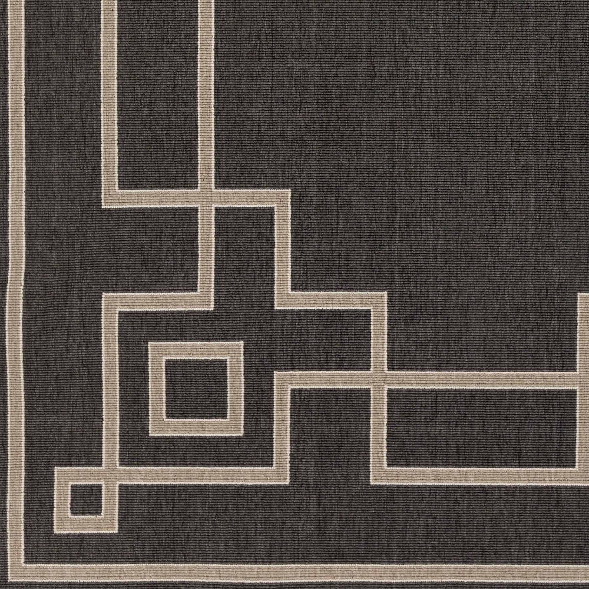 Art of Knot Luxor Machine Made Greek Key Border Indoor/Outdoor Area Rug, Black