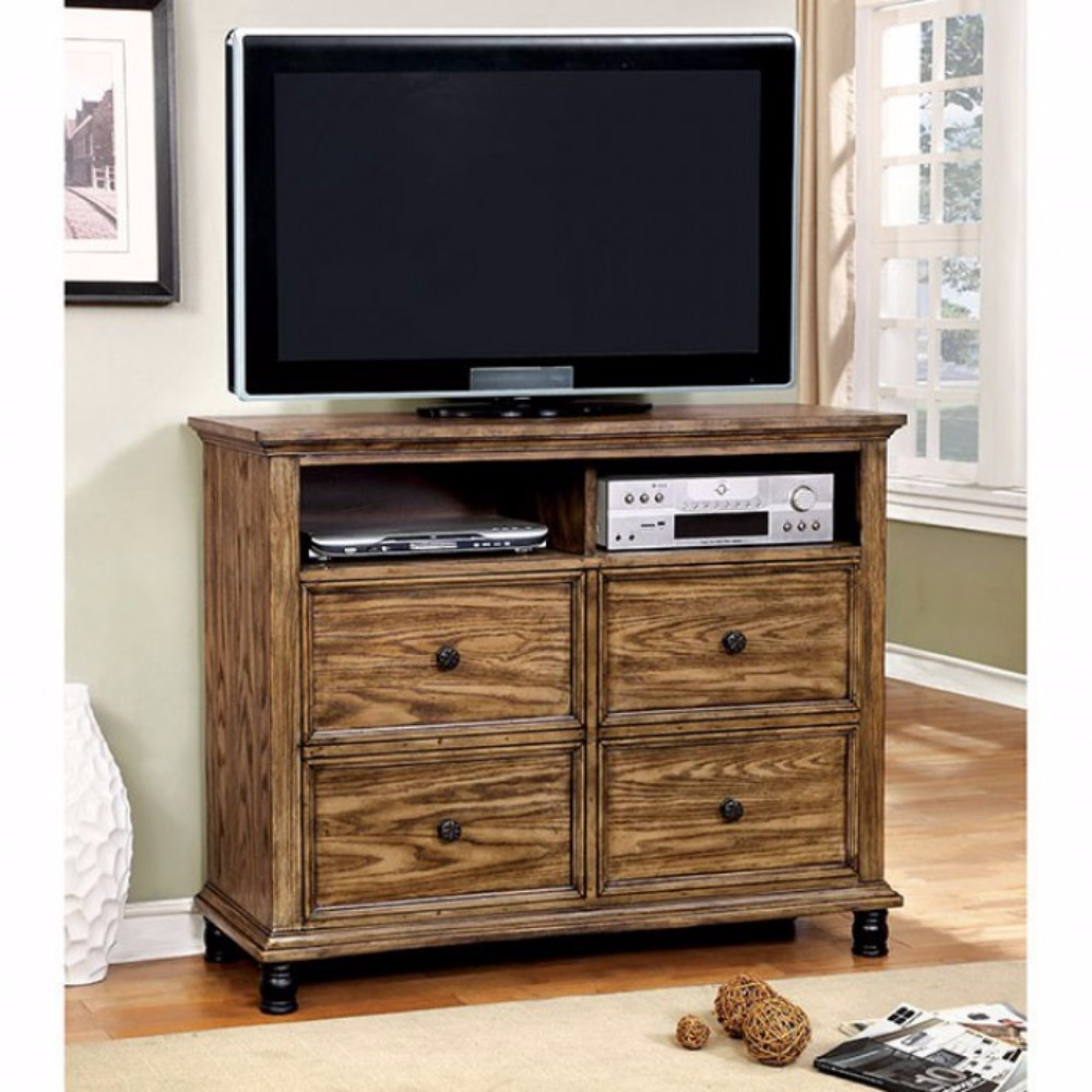 Mcville Media Chest Industrial Design, Dark Oak Finish