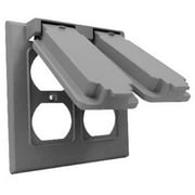 Hubbell Electrical 2C-2D Double Gang Flip Cover, Gray