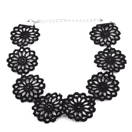 Women Adjustable Flower Shaped Lace Clavicle Necklace Chain Collar Choker # 8