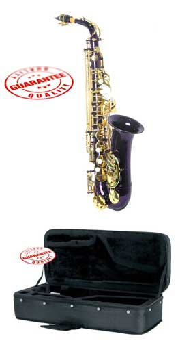 Hawk Colored Student Purple Alto Saxophone with Case, Mouthpiece and Reed by Hawk