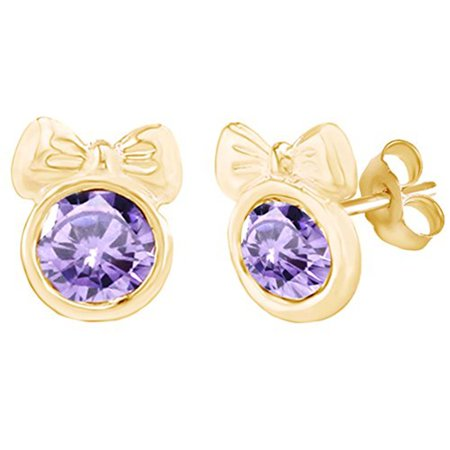 Round Shape Simulated Violet Alexandrite Minnie Mouse Bow Stud Earrings 14K Yellow Gold Over Sterling Silver ()