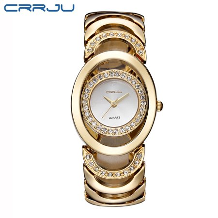 CRRJU Gorgeous 3ATM Daily Water Resistant Fashion Women Analog Dress Watch Elegant Bracelet Watch Simple Dial Wristwatch for (White Dial Water Resistant Watch)