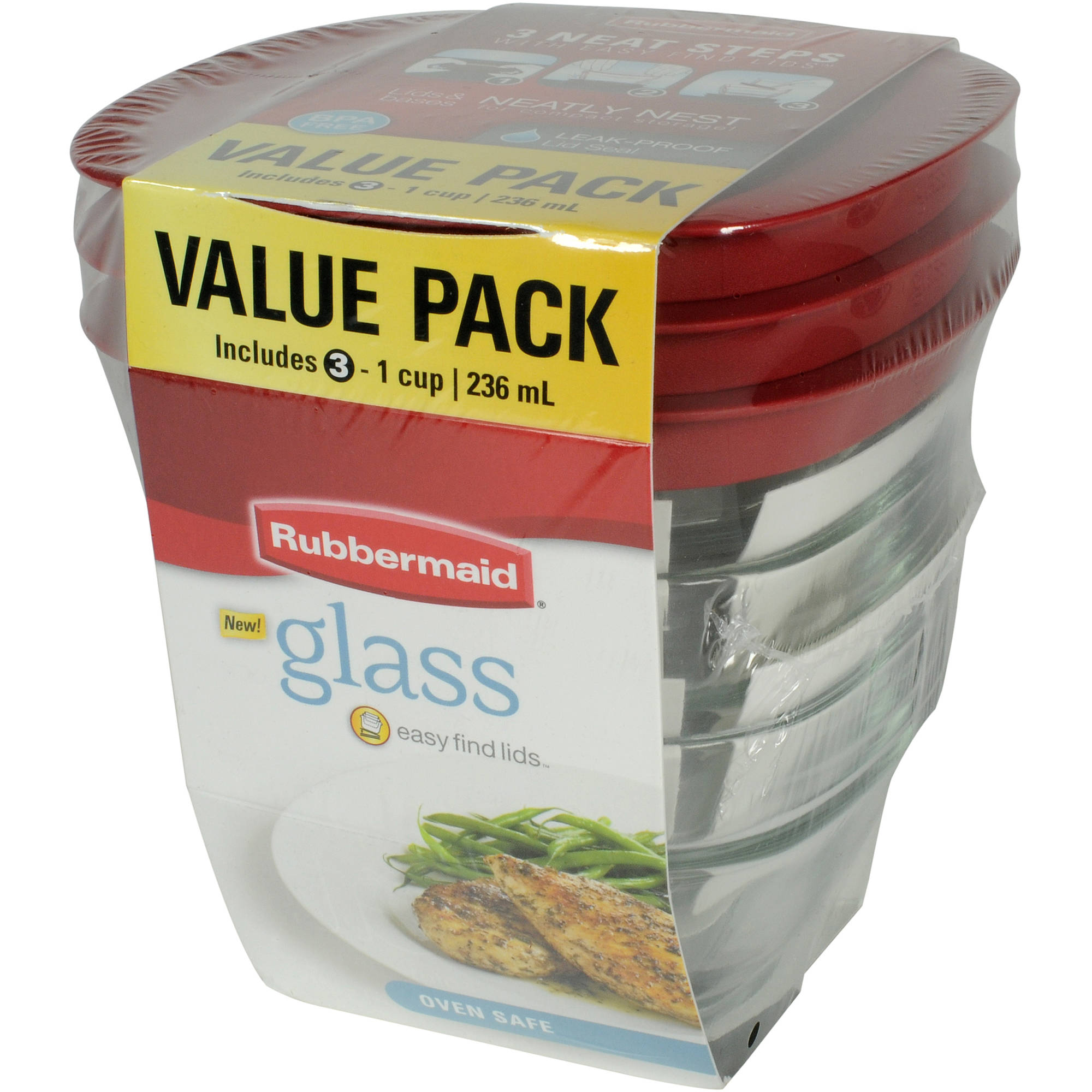 Rubbermaid Square Glass Food Storage Value Pack, 6-Piece Set