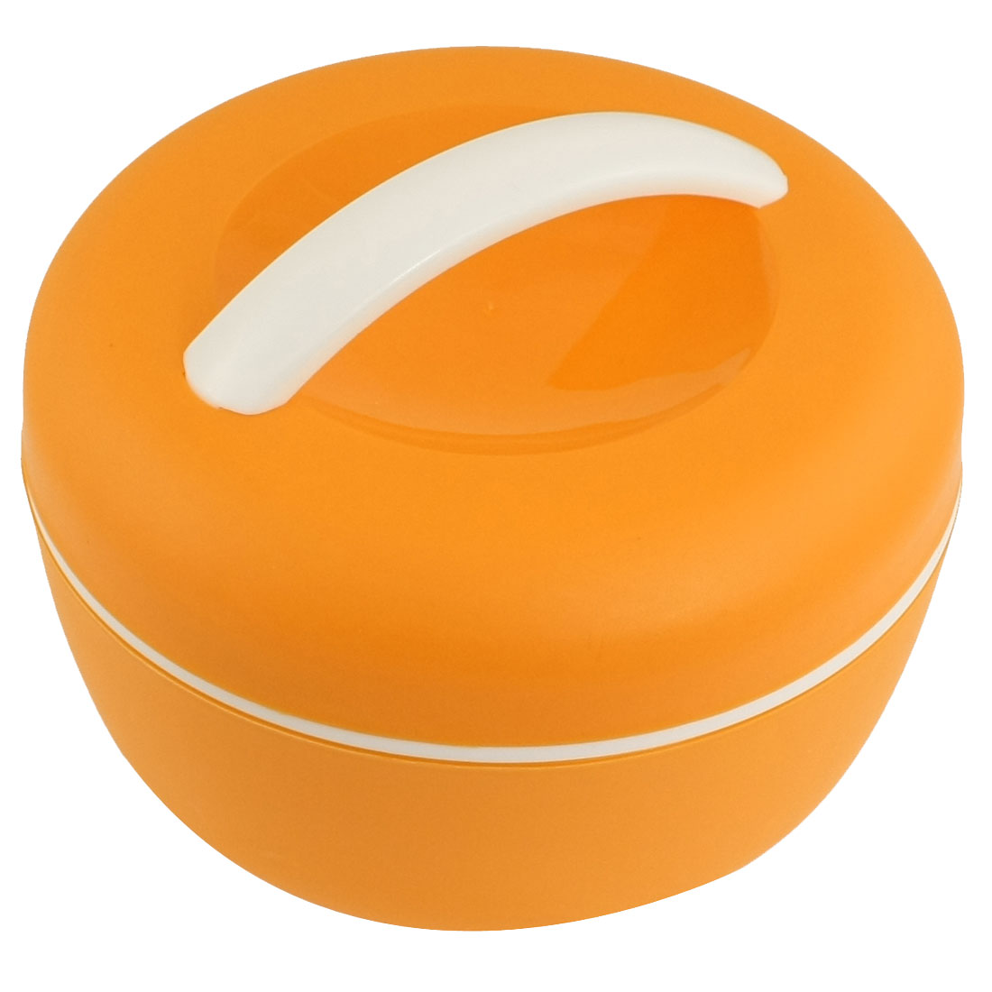 Apple Shaped White Orange Plastic Food Dish Container Lunch Box w Spoon