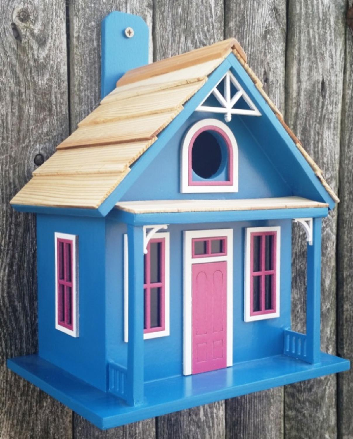 "8.75"" Fully Functional Blue and Pink Santa Cruz Cottage Outdoor Garden Birdhouse by CC Outdoor Living"