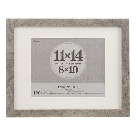 Essentials Picture Frame: Grey, 11 x 14 or 8 x 10 with Mat