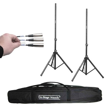 On Stage SS7761B All-Aluminum Tripod Speaker Stand (2-Pack) + On Stage Speaker Stand Bag SSB6500 + Hosa Label A Cable Kit 60 Peel Off Labels LBL-466
