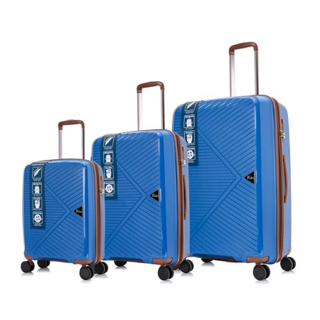 Bronco Polo 3 Pcs, Polypropylene Spinner Luggage Set Premium Royal Blue