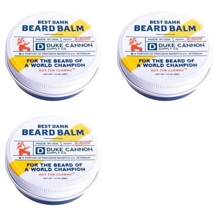 Duke Cannon Supply Co. Best Damn Beard Balm Made in USA, Redwood, 1.6 Oz (Pack of