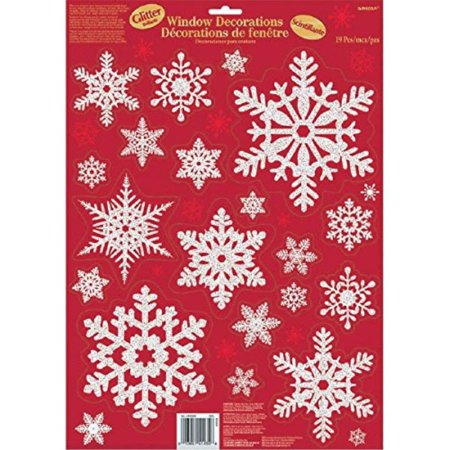 Winter Wonderland Christmas Party Snowflake Window Decoration, Red/Silver, Foil, Assorted Sizes, 19-Piece