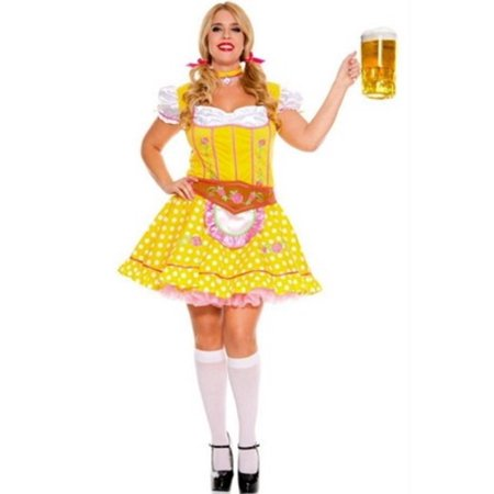 Sky Hosiery Queen Bright Dirndl Dress 70545Q Yellow