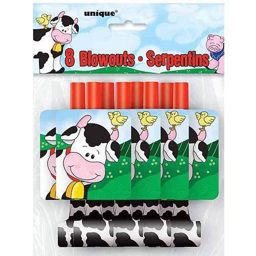 Farm Party Blowers, 8-Count