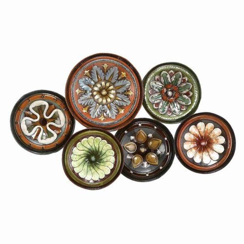 Woodland Imports 13925 Metal Wall Decor with Six Metal Round Shaped Plates by Woodland Imports