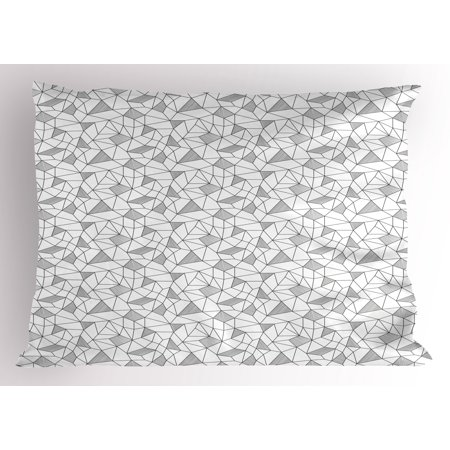 Abstract Pillow Sham Surreal Doodle Drawing Style Geometric Pattern Line Art Cubism Inspired Design, Decorative Standard Size Printed Pillowcase, 26 X 20 Inches, Black White, by