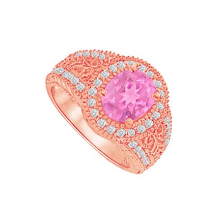 Pretty Pink Sapphire and CZ Filigree Ring 2.00 CT TGW - image 1 of 2