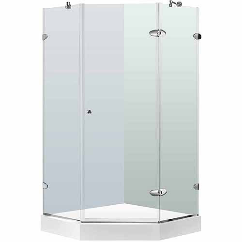 "Vigo 40"" x 40"" Frameless Neo-Angle 3/8"" Clear/Chrome Shower Enclosure with White Base"