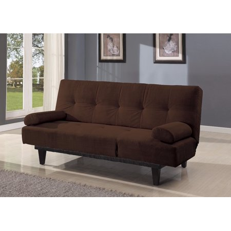 Microfiber Adjustable Sofa With Two Arm Pillows, Brown