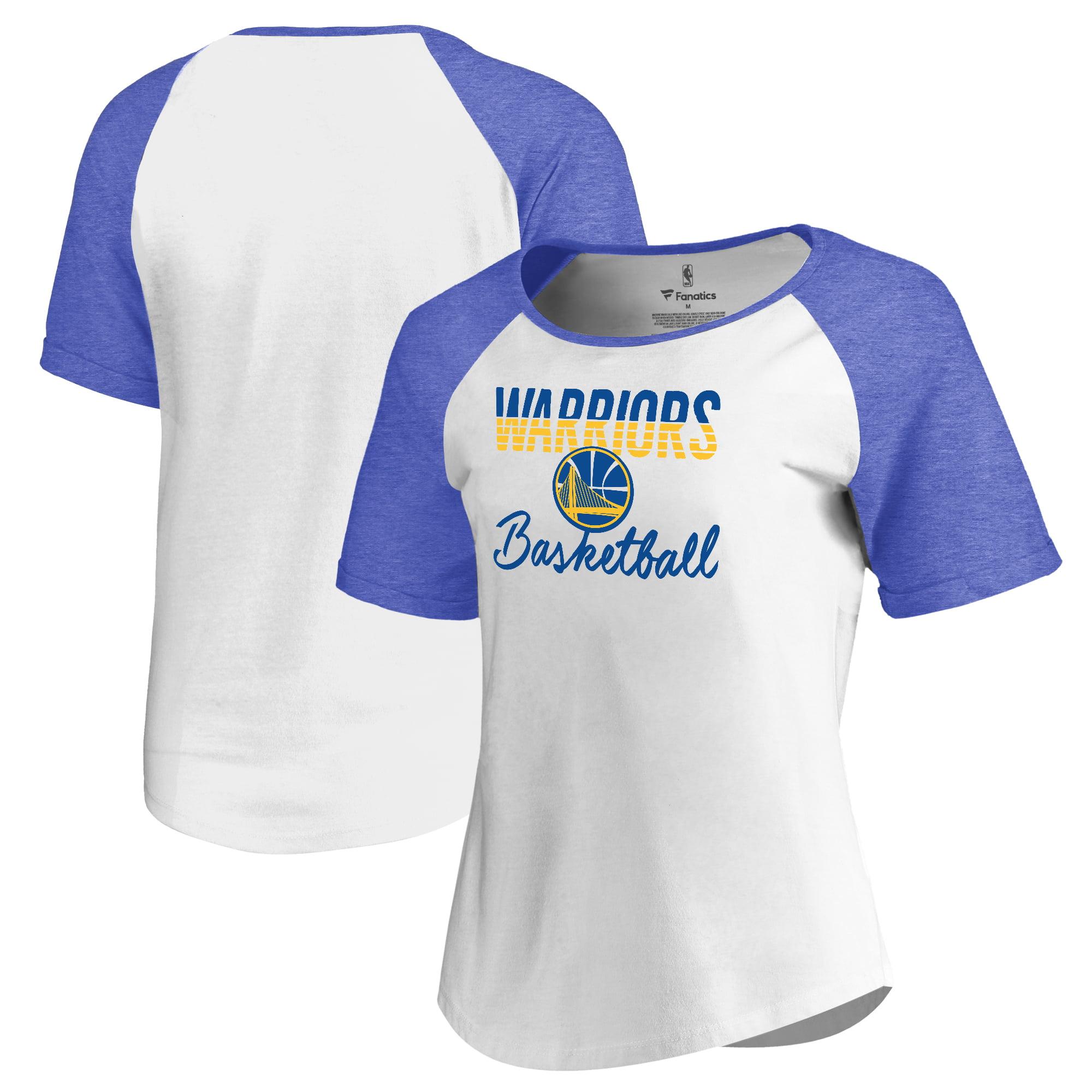 Golden State Warriors Fanatics Branded Women's Free Line Raglan Scoop Neck Tri-Blend T-Shirt - White/Royal